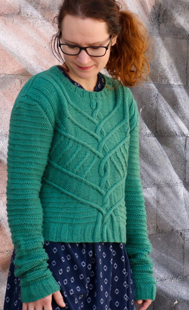 Free cabled sweater knit pattern