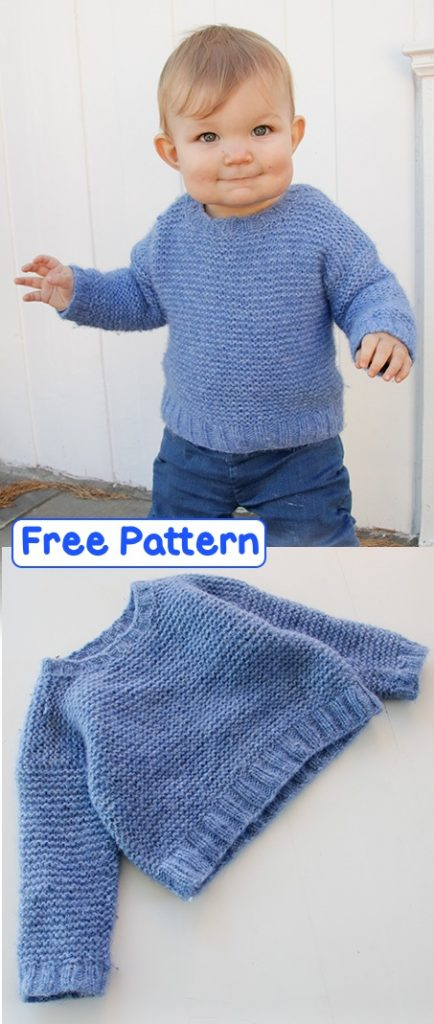 Free garter stitch sweater pattern for kids and babies