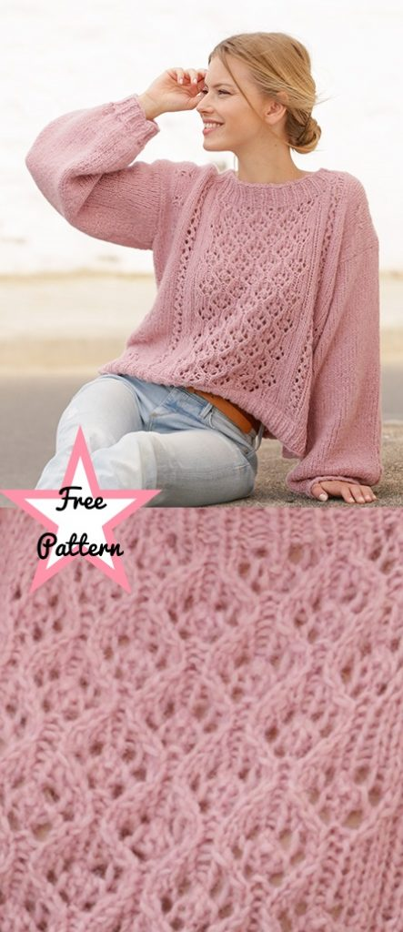 Free knitting pattern for a balloon sleeves lace top