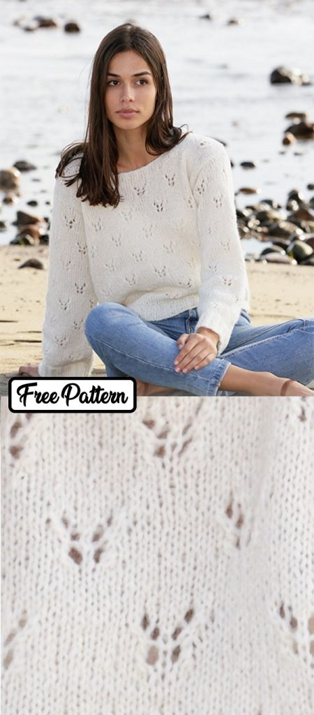 Free knitting pattern for a butterfly lace sweater
