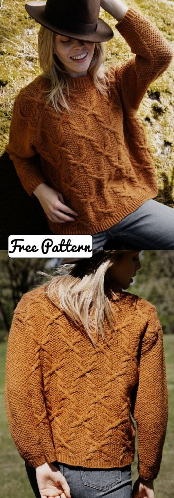 Free knitting pattern for a cable and moss stitch sweater