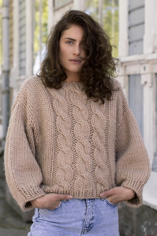 Free knitting pattern for a chunky cable knit sweater