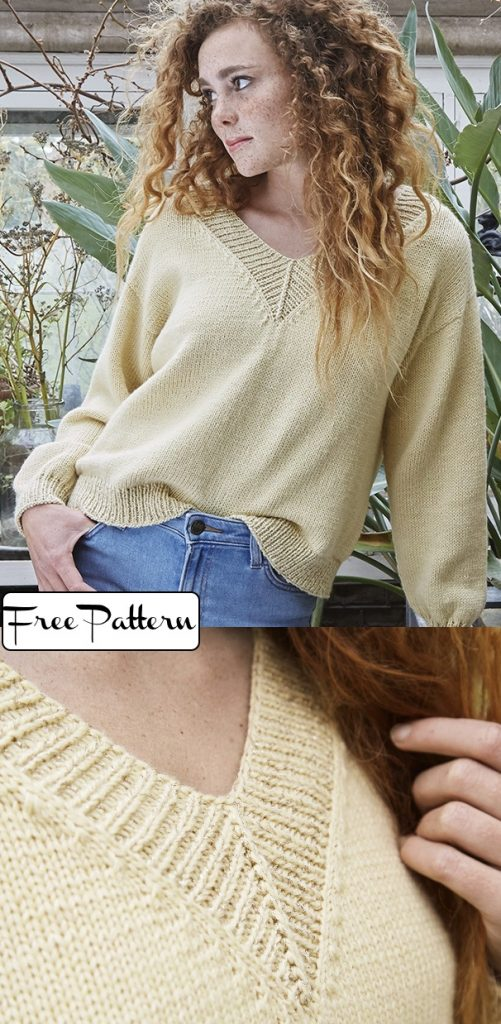 Free knitting pattern for a classic v-neck sweater