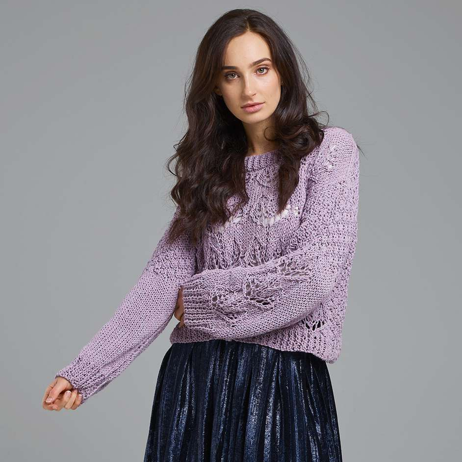 Free knitting pattern for a cotton lace sweater