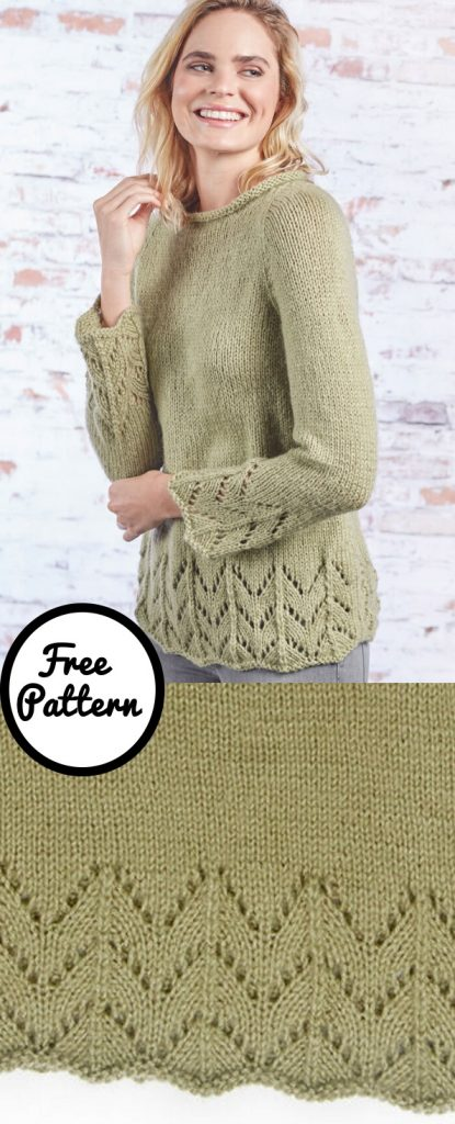 Free knitting pattern for a fluted lace sweater