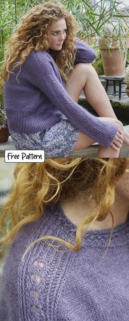 Free knitting pattern for a lace detail sweater