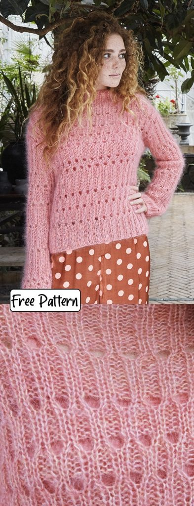 Free knitting pattern for a lace eyelet sweater