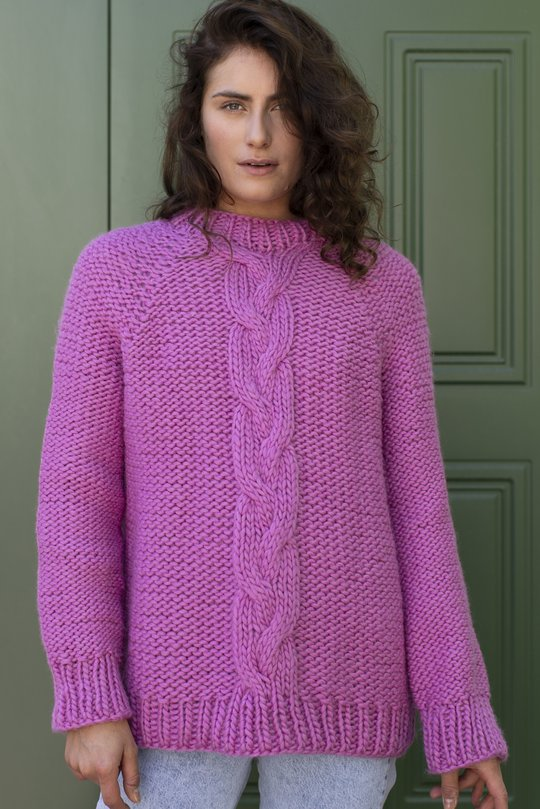 Free knitting pattern for a reverse stockinette stitch and cable sweater