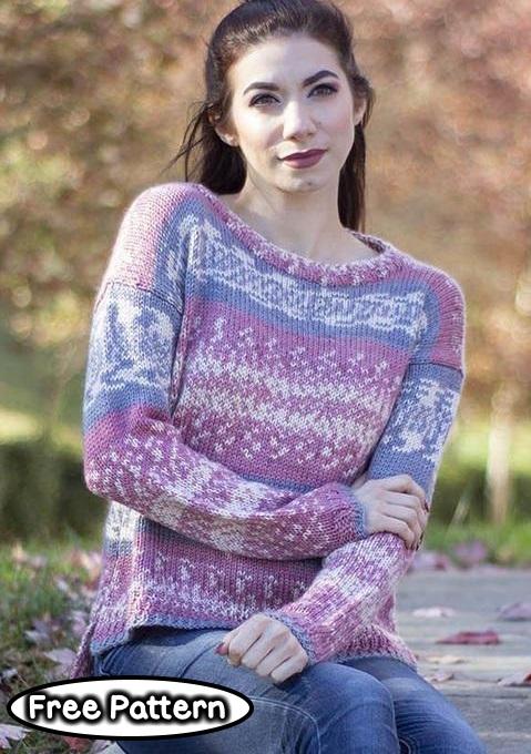 Free knitting pattern for a split hem sweater