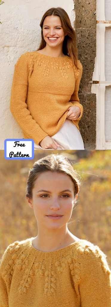Free knitting pattern for a sweater with bobbles