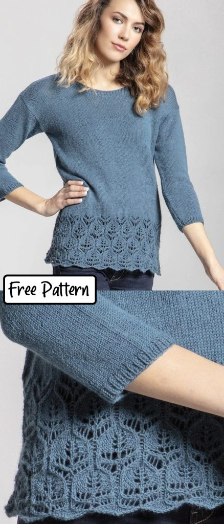 Free knitting pattern for a womens lace sweater