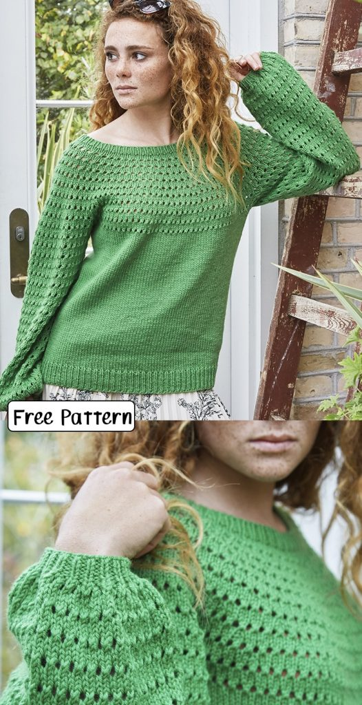 Free knitting pattern for an eyelet yoke and puff sleeves sweater