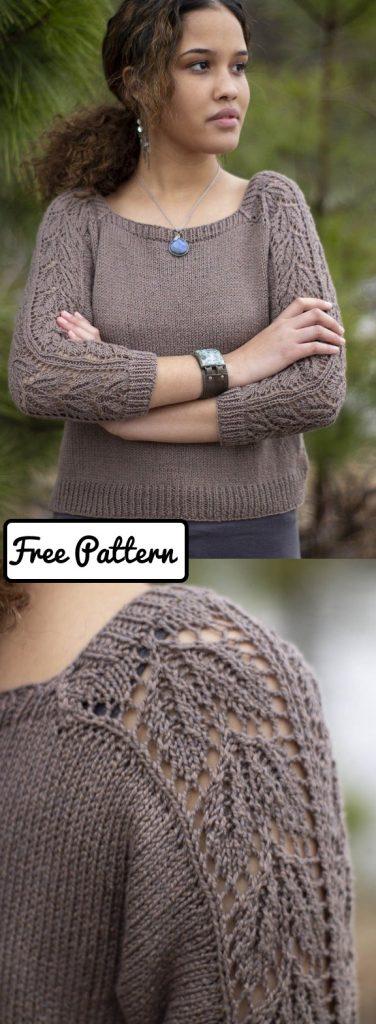 Free sweater knitting pattern with lace stitch