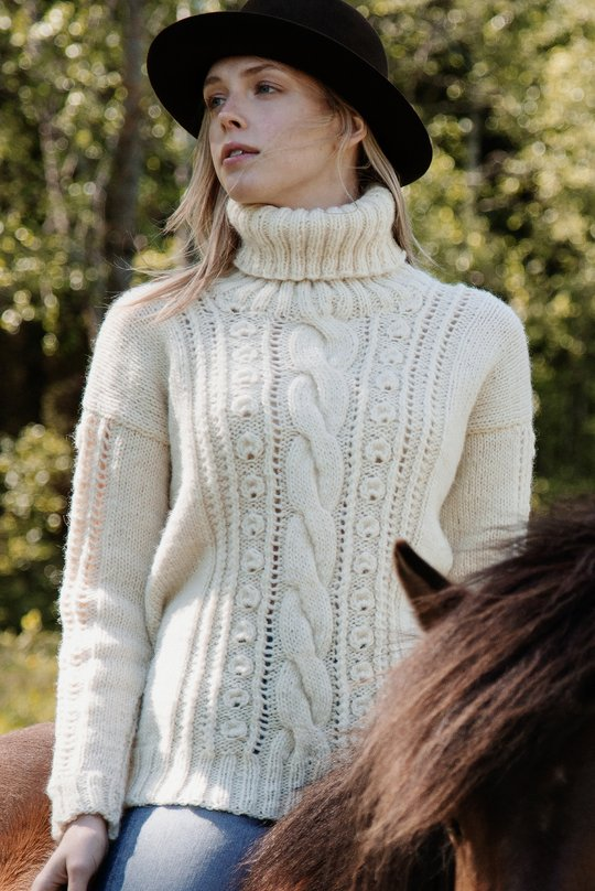 Free cable and lace sweater knitting pattern