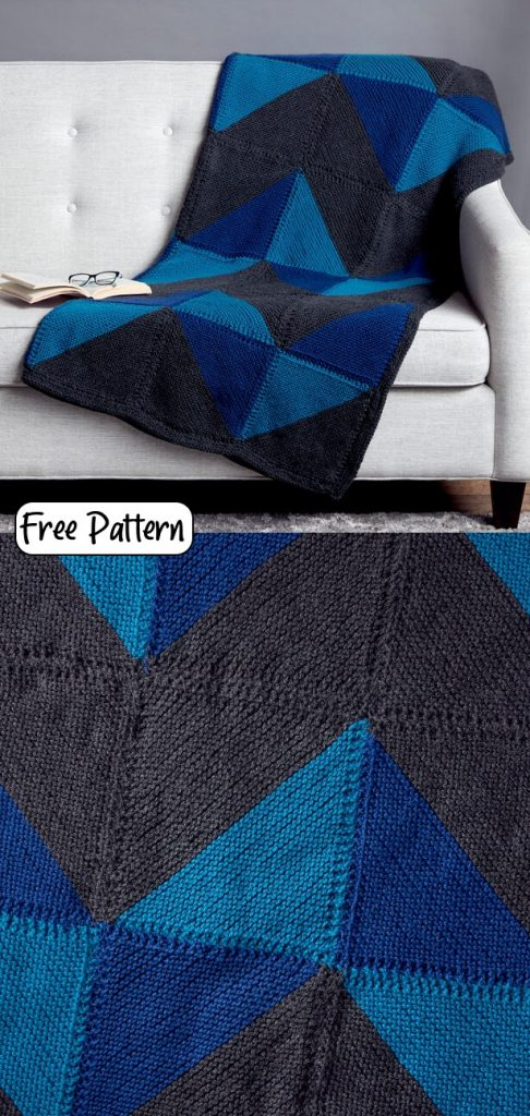 Easy Mitered square blanket knitting pattern