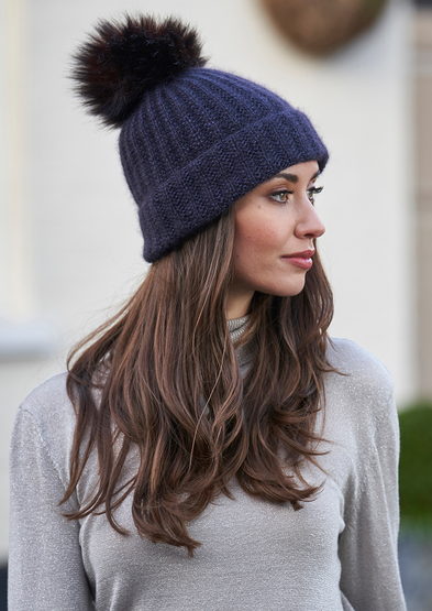 Free knit pattern for a rib hat