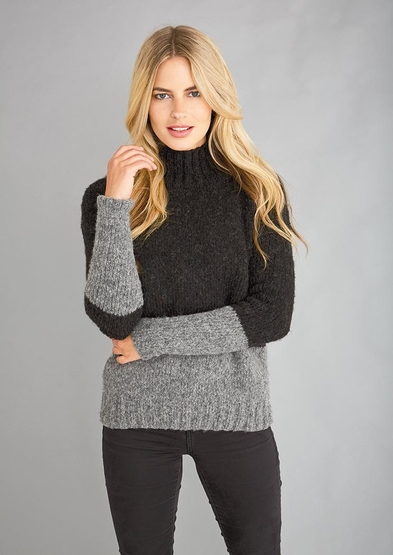 Free knit pattern for a two toned turtleneck sweater