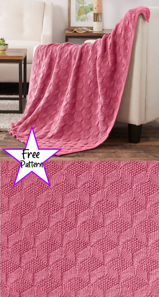Free knitting pattern for a 3d blanket