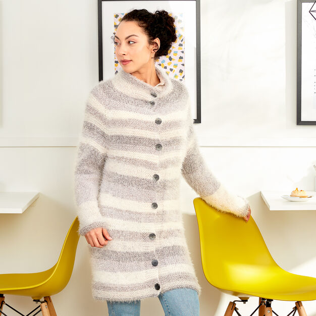 Free knitting pattern for a long coat with stripes