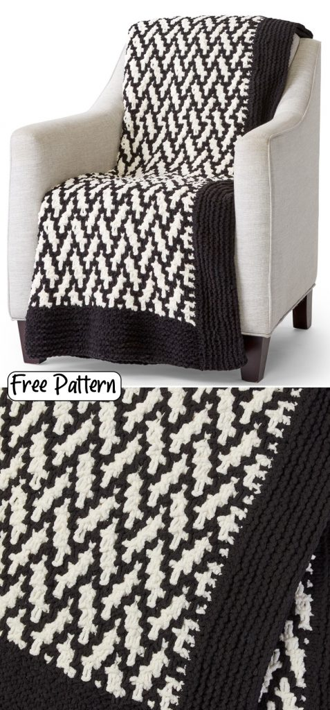 Free knitting pattern for a mosaic herringbone throw