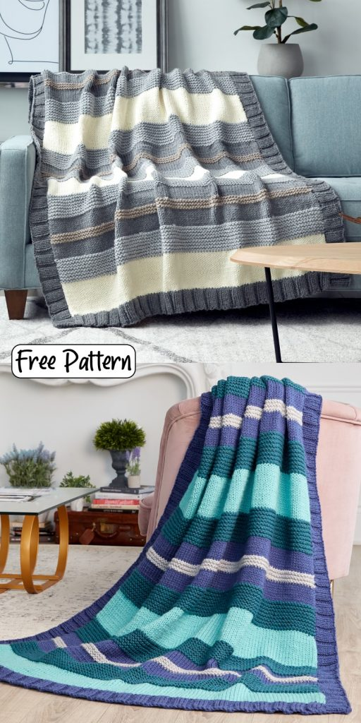 Free knitting pattern for an easy striped blanket