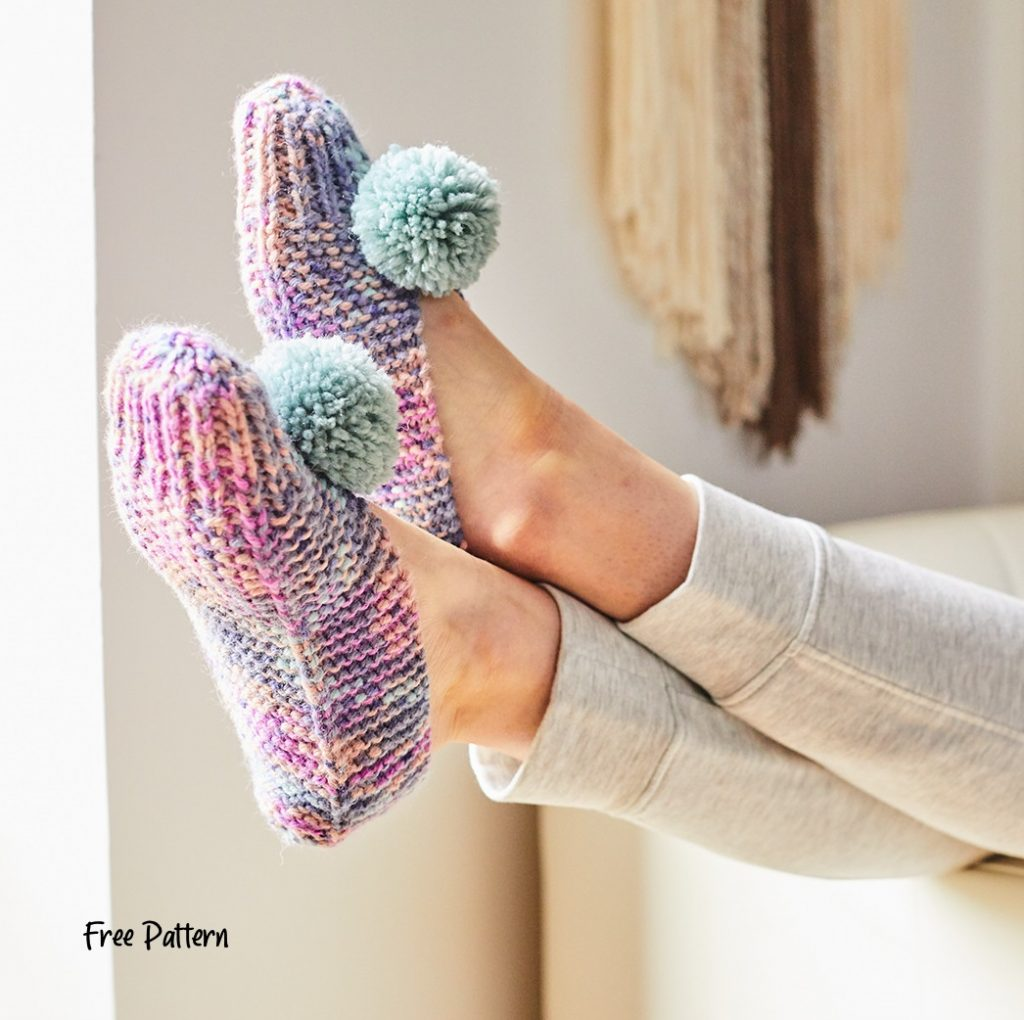 Free knitting pattern for easy slippers