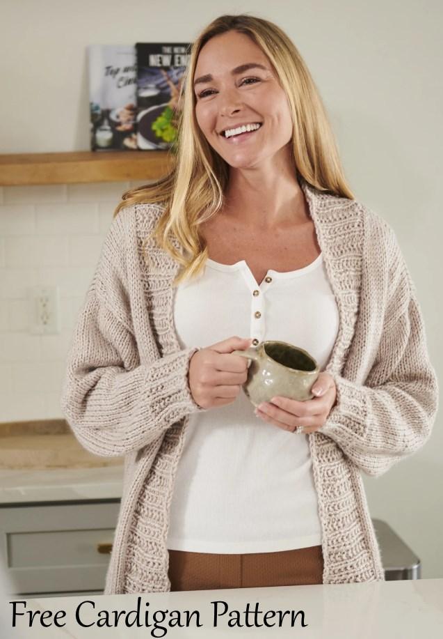 Free cardigan knitting pattern for women