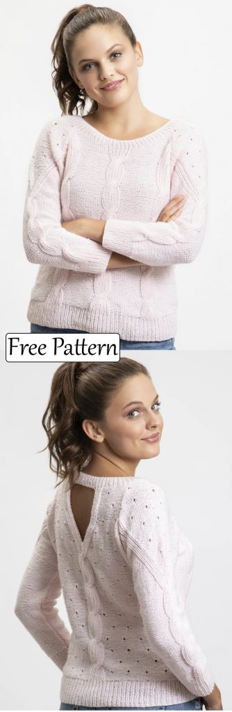 Free knitting pattern for a cable eyelet sweater