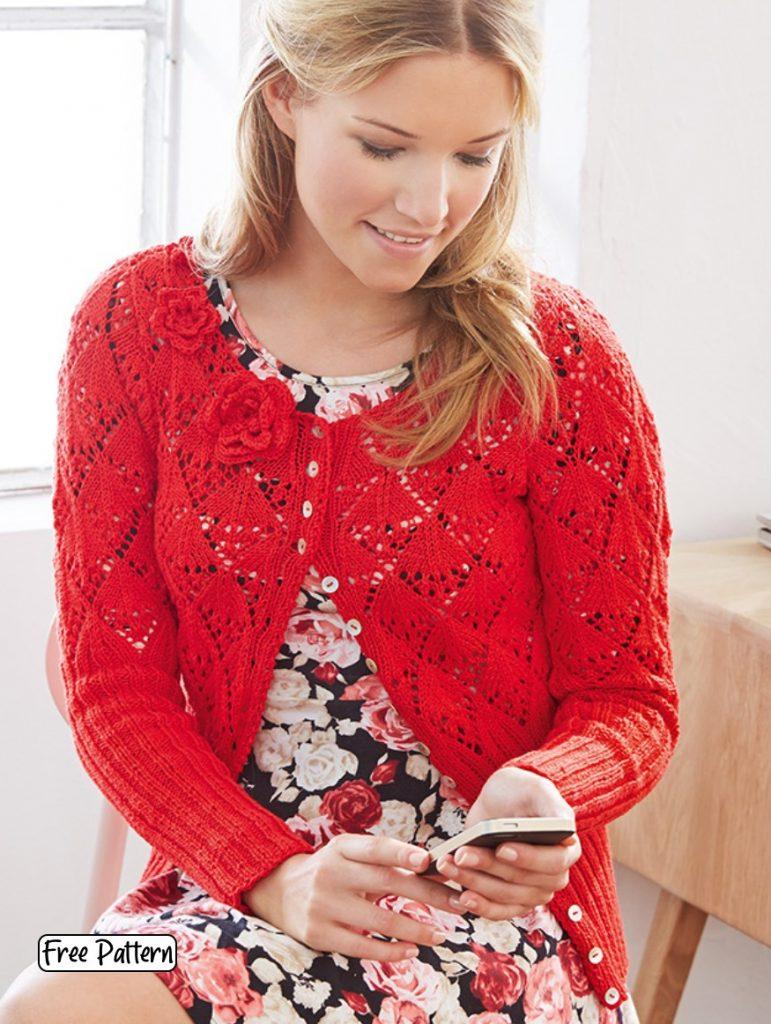 Free knitting pattern for a diamond lace cardigan