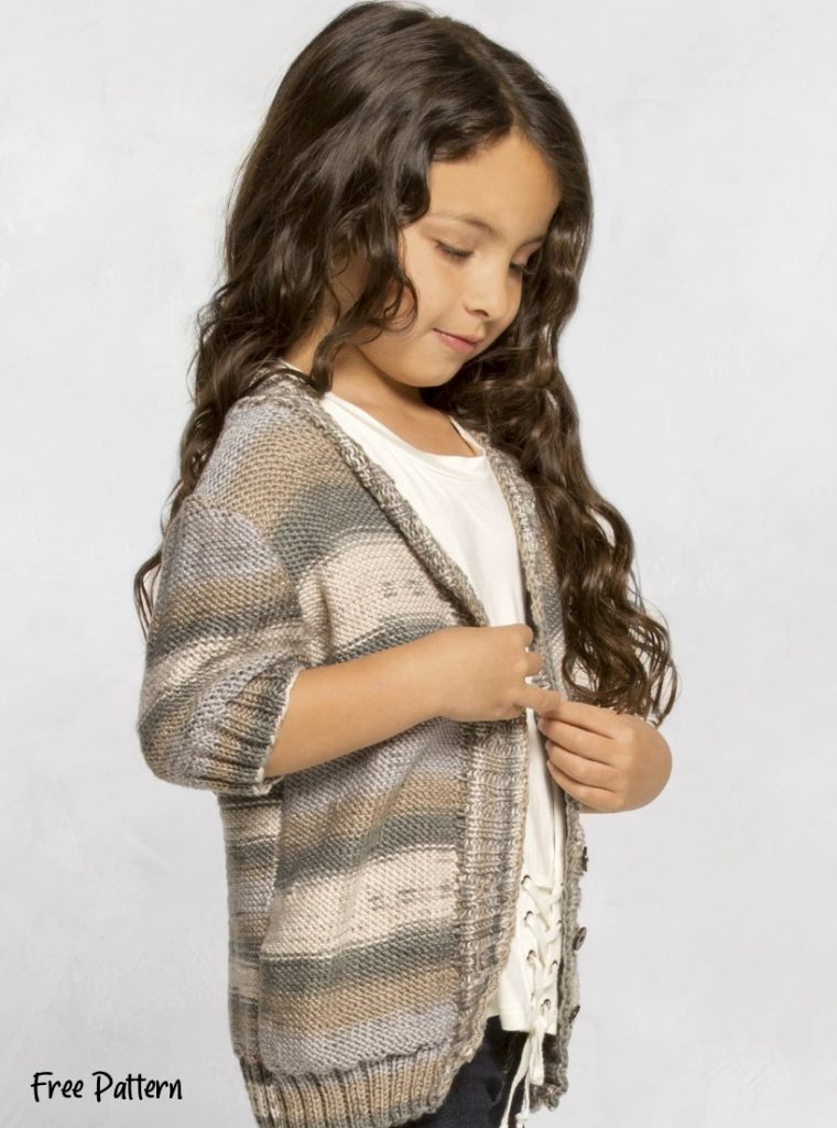 Free knitting pattern for a girls cardigan