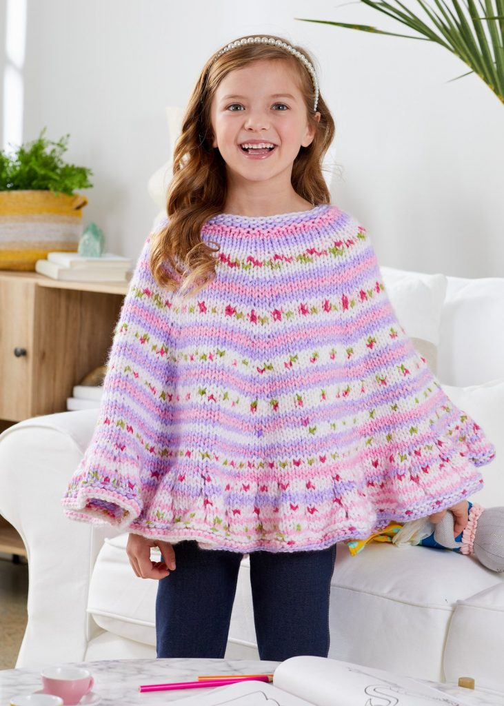 Free knitting pattern for a girls poncho