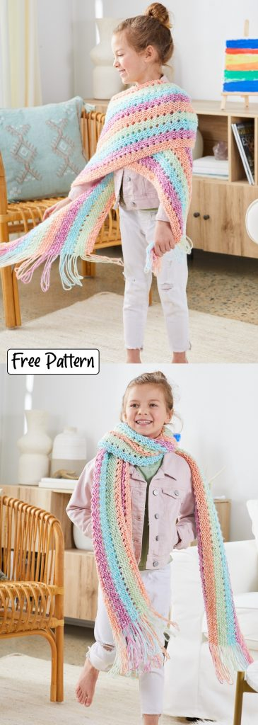 Free knitting pattern for a girls scarf