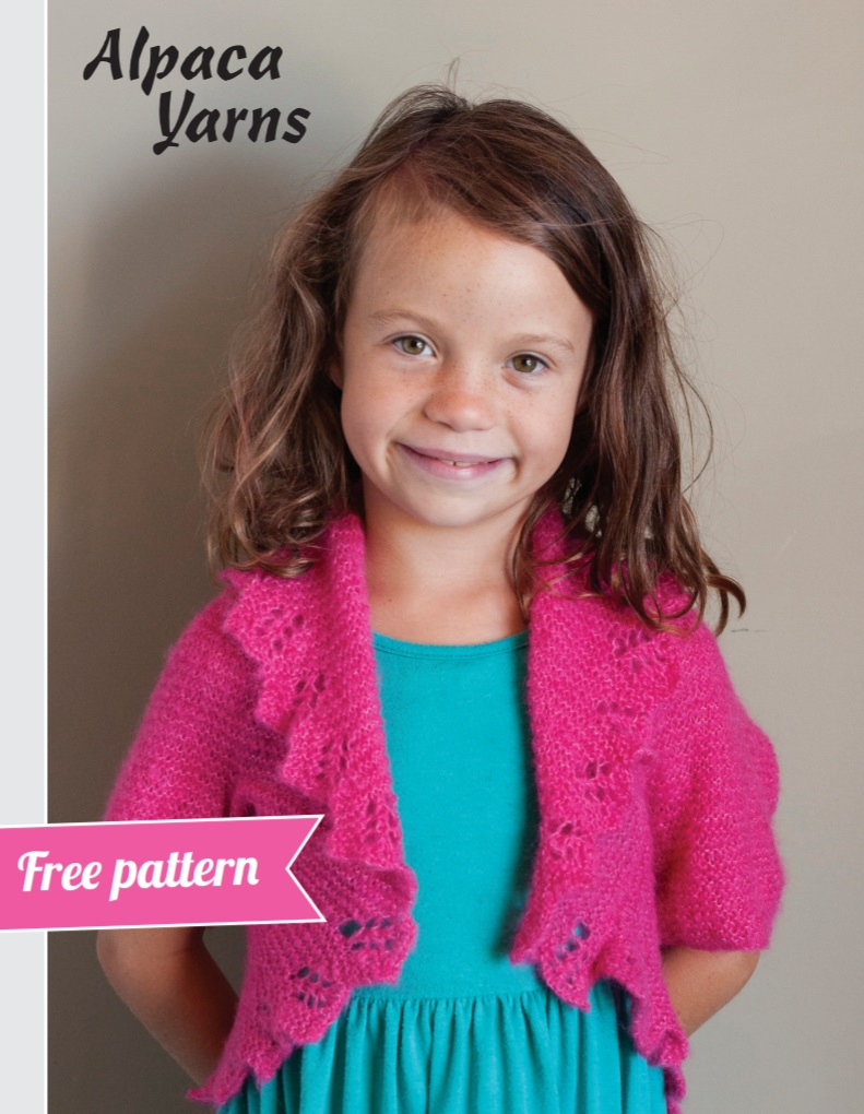 Free knitting pattern for a lace shrug for girls