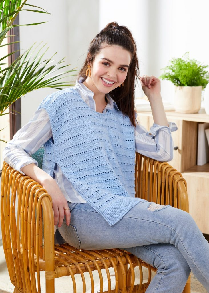 Free knitting pattern for eyelet striped ponchette