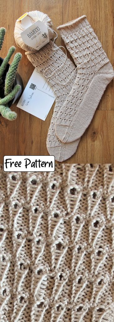 Free knitting pattern for sock with eyelets