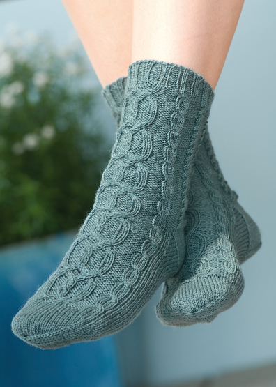 Free knitting pattern for socks with cables