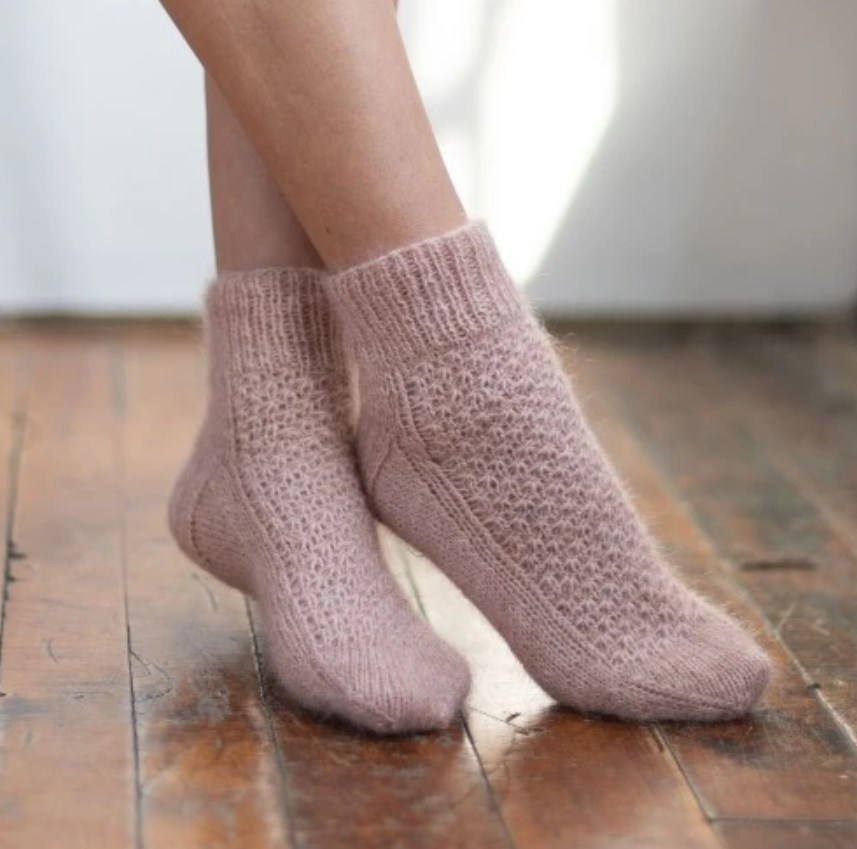 Free knitting pattern for textured ankle socks pretty