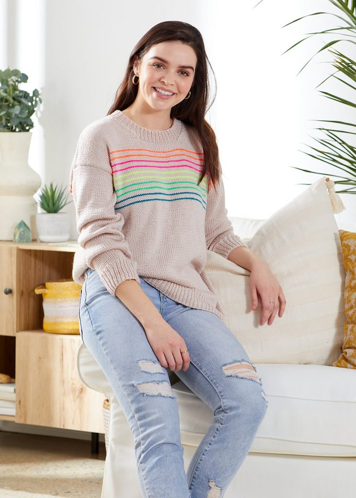 Free modern ladies sweater knitting pattern with neon stripes