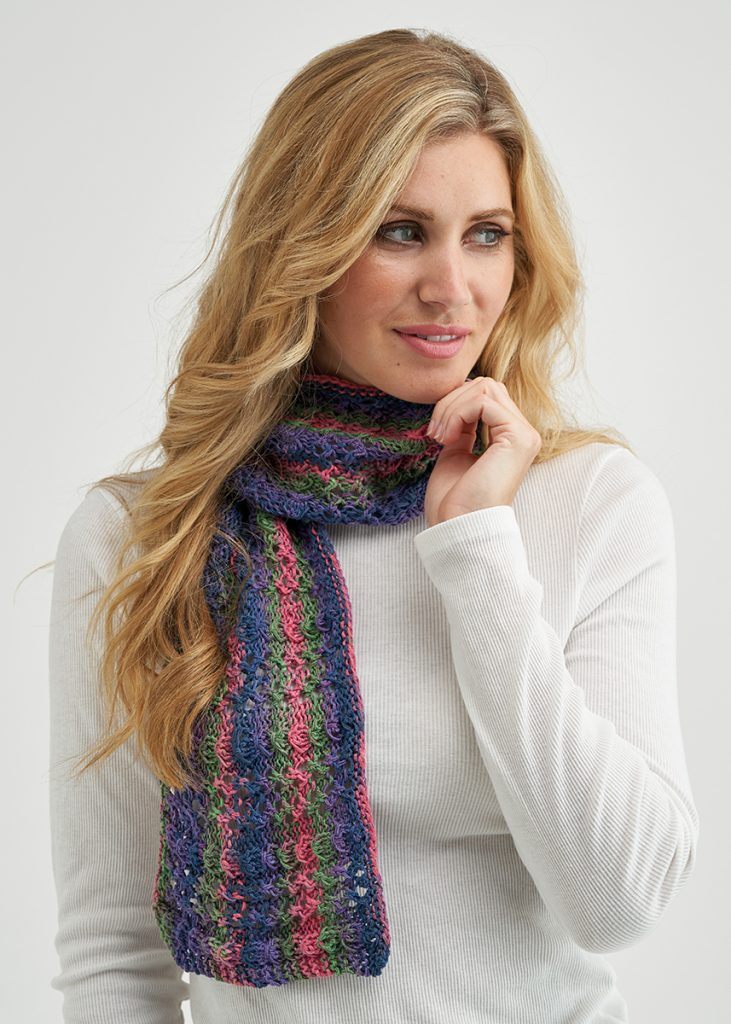 Free Knit Pattern for a Fantasy Stitch Shawl Scarf