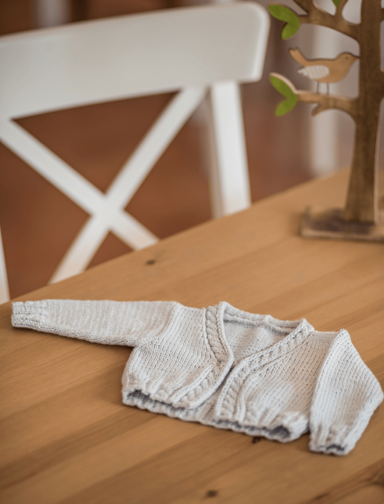 Free Knitting Pattern for a Baby Cardigan with Cables