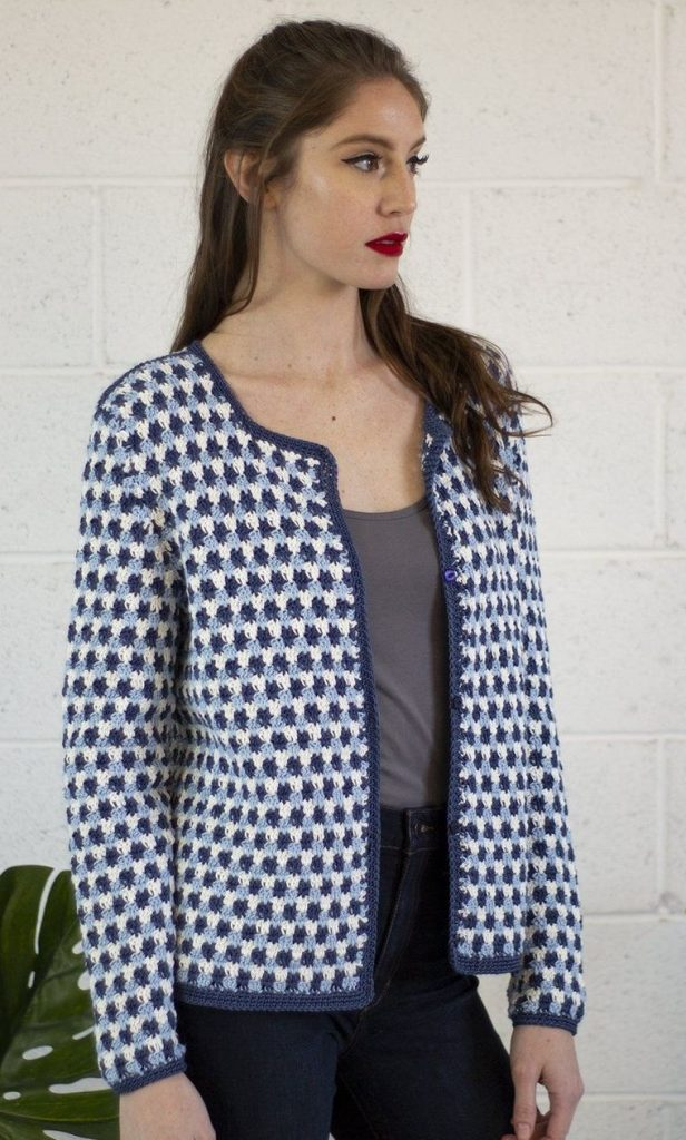 Free Knitting Pattern for a Blue Star Cardigan
