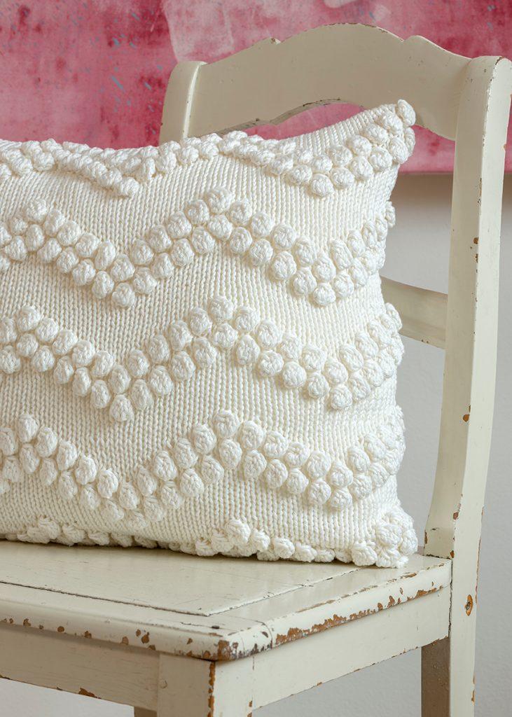 Free Knitting Pattern for a Chevron Bubble Stitch Pillow