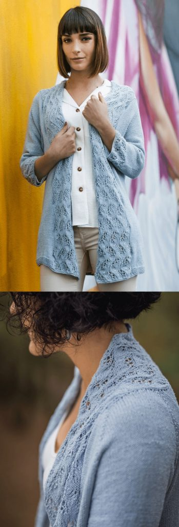 Free Knitting Pattern for a summer cardigan with lace