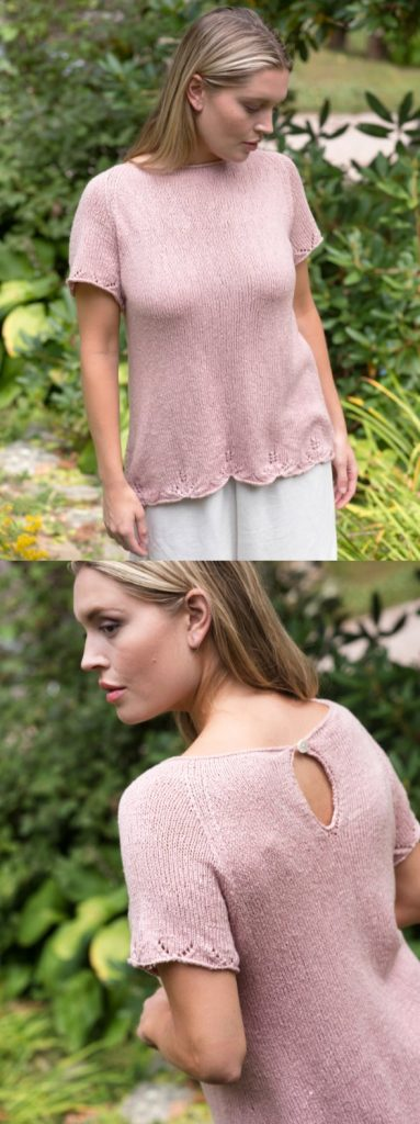 Free knit top pattern with lace edge