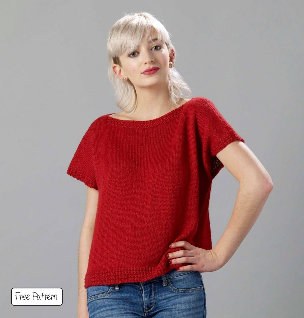 Free knitting pattern for a boxy top