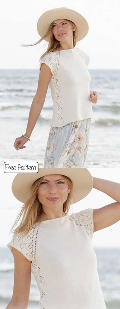 Free knitting pattern for a lace tee