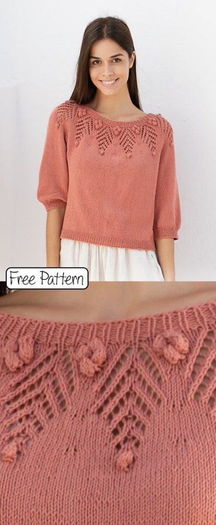 Free knitting pattern for a summer lace sweater