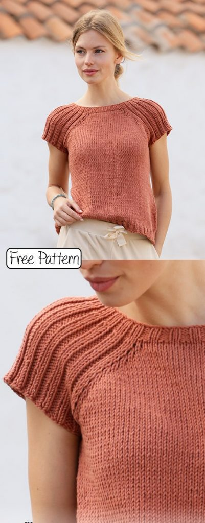 Free knitting pattern for a summer tee