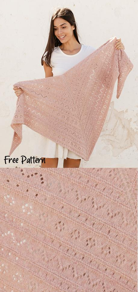 Beautiful lace shawl triangle shawl knitting pattern for free