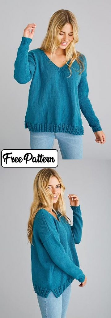 Easy Knitting Patterns for Women's Sweaters. A free stockinette stitch sweater pattern with a textured edge.